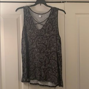 Black and white tank top with criss cross neck